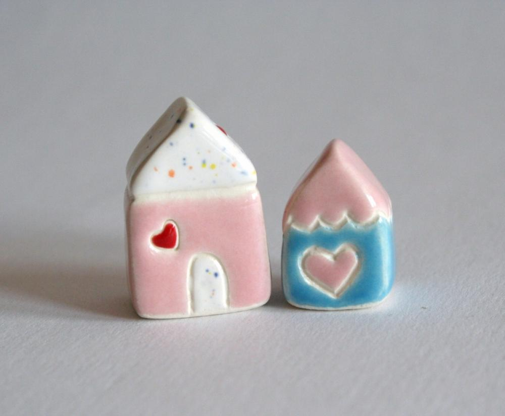 Little Clay House Set Pink Blue White Miniature Pottery Cottage