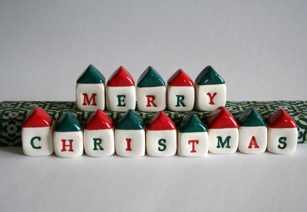 Custom MERRY CHRISTMAS Village - Miniature Houses